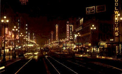 Market Street at Night - San Francisco, California CA Postcard