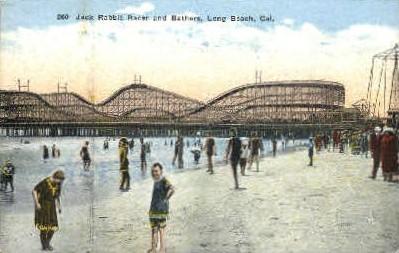 Jack Rabbit Racer & Bathers - Long Beach, California CA Postcard