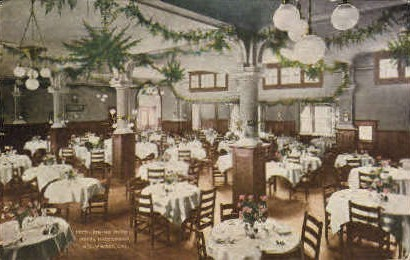 Dining Room, Hotel Hollywood - California CA Postcard