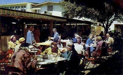 Farmers Market, Outdoor Dining - Hollywood, California CA Postcard
