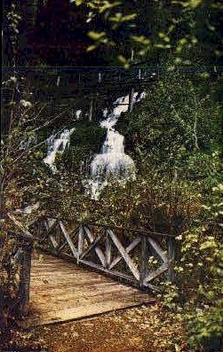 vintage 1911 bridges zigzag trail shasta springs postcard