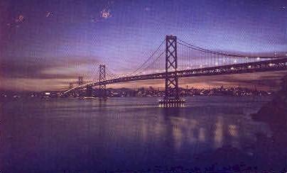 Bay Bridge at Night - San Francisco, California CA Postcard