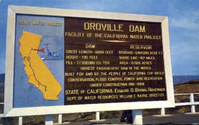 Oroville Dam - MIsc, California CA Postcard