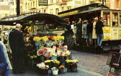 Flower Stand - San Francisco, California CA Postcard