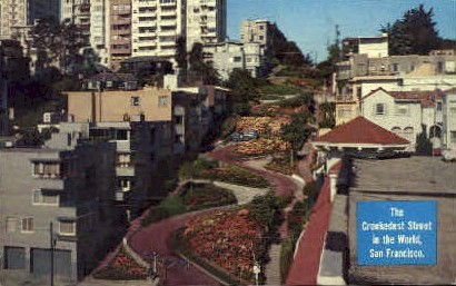 The Crookedest Street in the World - San Francisco, California CA Postcard