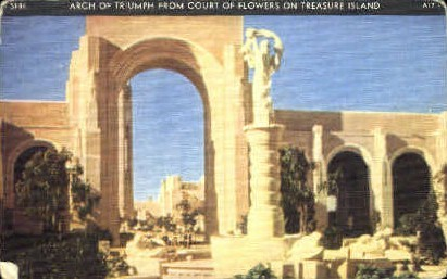 Arch of Triumph from Court of Flowers - San Francisco, California CA Postcard