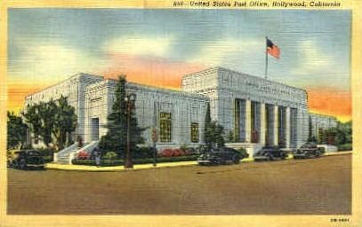 U.S. Post Office - Hollywood, California CA Postcard