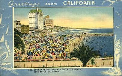 Bathers in the Lagoon - Long Beach, California CA Postcard