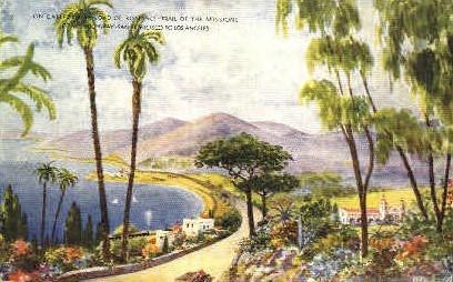 Californias Road of Romance - Los Angeles Postcard