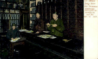 Chinese Drug Store - San Francisco, California CA Postcard
