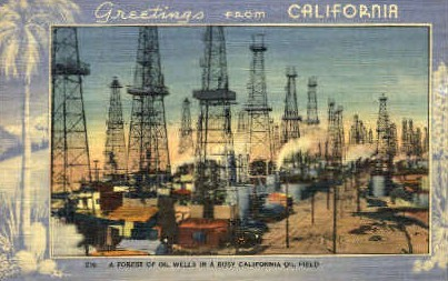 Oil Wells in an Oil Field - MIsc, California CA Postcard