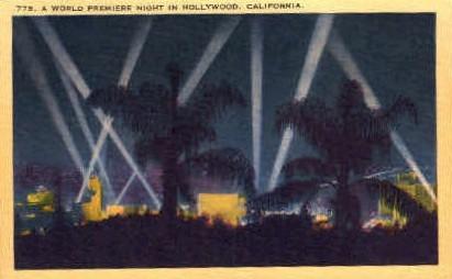 World Premiere Night in Hollywood - California CA Postcard