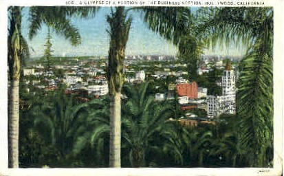 Buisiness Section - Hollywood, California CA Postcard
