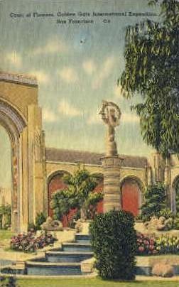 Court of Flowers - San Francisco, California CA Postcard