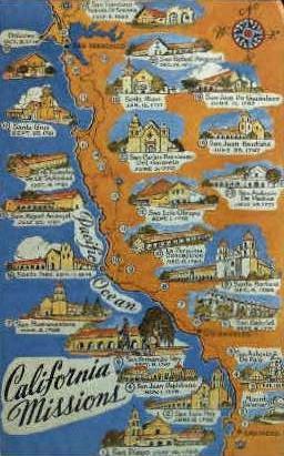 Califronia Missions - MIsc, California CA Postcard