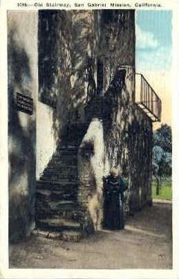 Old Stairway, San Gabriel Mission - MIsc, California CA Postcard