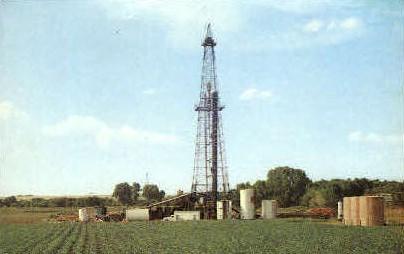 Broom Corn and Oil Derrick - MIsc, California CA Postcard