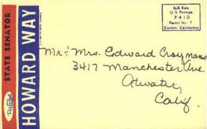 State Senator Howard Way - MIsc, California CA Postcard