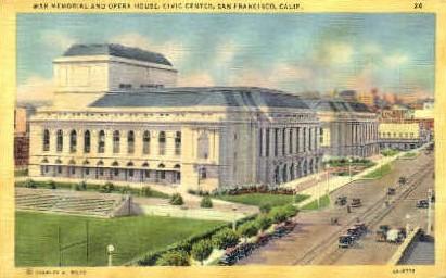 War Memorial & Opera House - San Francisco, California CA Postcard
