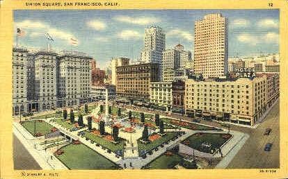 Union Square - San Francisco, California CA Postcard