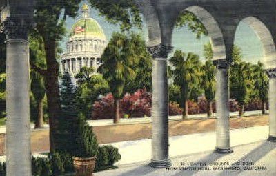 Capitol Grounds & Dome  - Sacramento, California CA Postcard