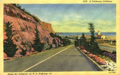 Along the Palisades on U.S. Highway 101 - MIsc, California CA Postcard