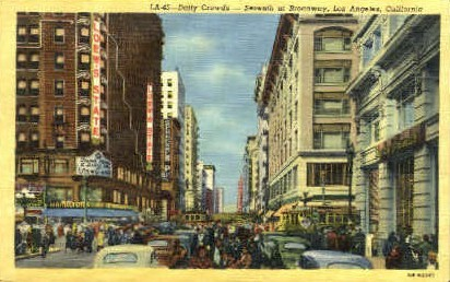 Daily Crowds - Los Angeles, California CA Postcard