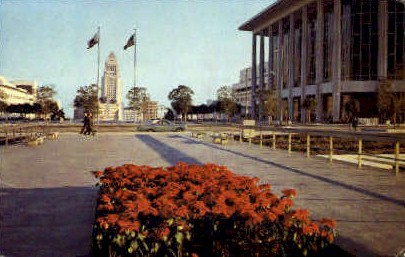 City Hall & Music Center - Los Angeles, California CA Postcard