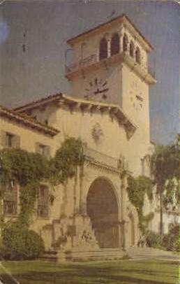 Main Entrance, County Court House - Santa Barbara, California CA Postcard