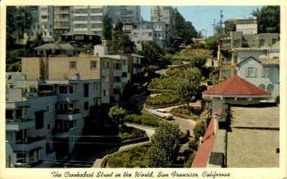 Lombard Street - San Francisco, California CA Postcard