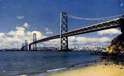 San Francisco-Oakland Bay Bridge - California CA Postcard