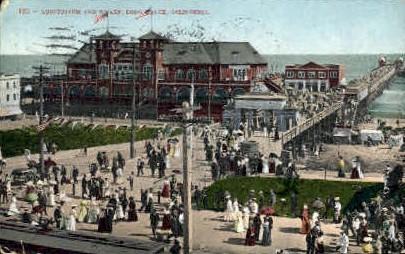 Auditorium & Wharf - Long Beach, California CA Postcard