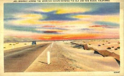 Highway Across American Sahara - MIsc, California CA Postcard