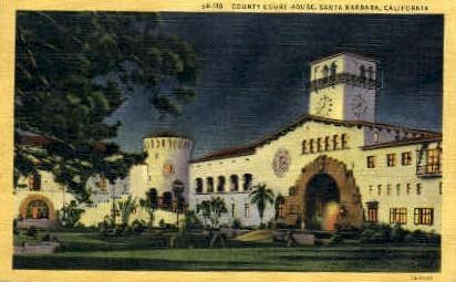 County Court House - Santa Barbara, California CA Postcard