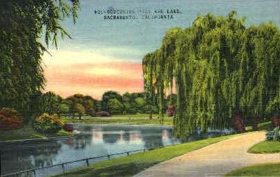 Southside Park & Lake - Sacramento, California CA Postcard