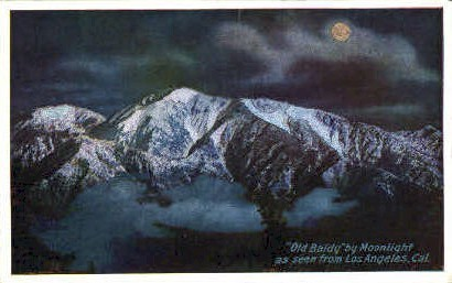 Old Baldy by Moonlight - Los Angeles, California CA Postcard