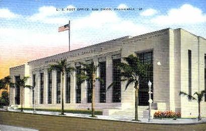 Post Office - San Diego, California CA Postcard
