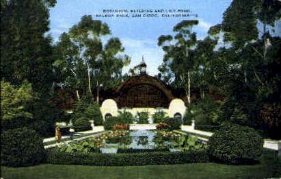 Botanical Building & Lily Pond - San Diego, California CA Postcard