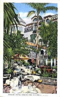 Spanish Patio, Mission Inn - Riverside, California CA Postcard