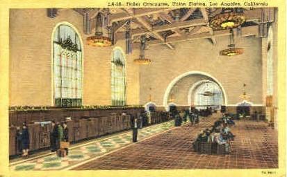 Ticket Concourse, Union Station - Los Angeles, California CA Postcard