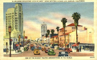 Wilshire Blvd. West - Los Angeles, California CA Postcard