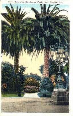 Entrance St. James Park - Los Angeles, California CA Postcard