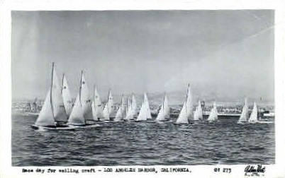 Race Day for Sailing Craft - Los Angeles, California CA Postcard