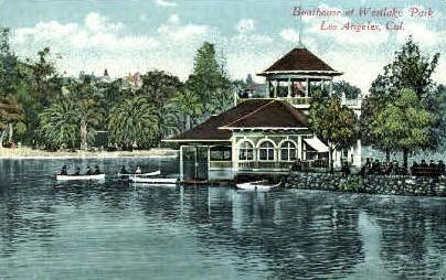 Boathouse at Westlake Park - Los Angeles, California CA Postcard