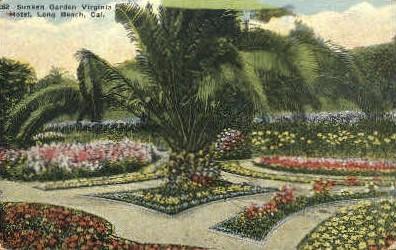 Sunken Garden - Long Beach, California CA Postcard