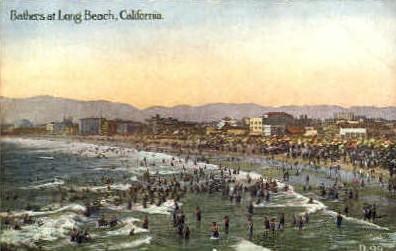 Bathers - Long Beach, California CA Postcard