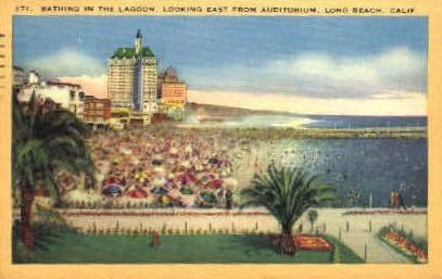 Bathing in the Lagoon - Long Beach, California CA Postcard