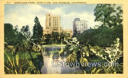Westlake Park. Elks Club - Los Angeles, California CA Postcard
