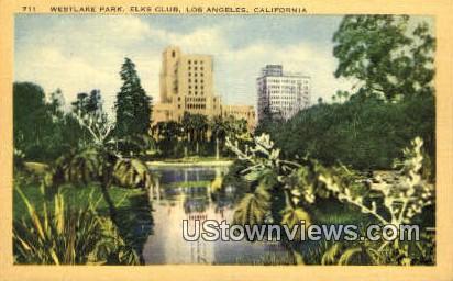 Westlake Park, Elks Club - Los Angeles, California CA Postcard