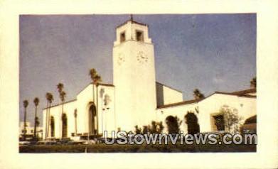 Union Station R.R. Depot - Los Angeles, California CA Postcard